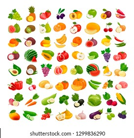 Set of fruits and vegetables. Fresh food, healthy eating concept. Vector illustration