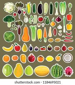 Set of fruits and vegetables. Sticker illustration.