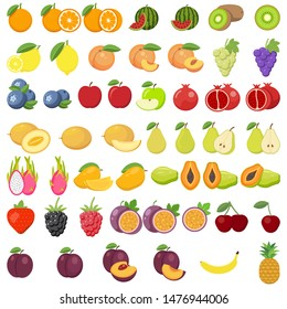 Set of fruits. Watermelon, pineapple, peach, lemon, vegetarian, orange, food, apple, pear, banana cherry strawberry grapes kiwi mango melon plum papaya isolated on white background