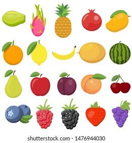 Set of fruits. Watermelon, pineapple, peach, lemon, vegetarian, orange, food, apple, pear, banana, cherry, strawberry, grapes, kiwi, mango, melon, plum, papaya isolated on white background.