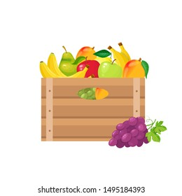 Set of fruits in wooden crates on white background