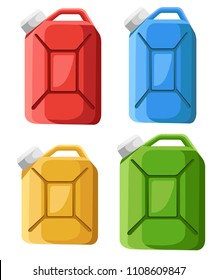 Set of fuel canister icon. Fuel container jerrycan. Colorful gasoline canister. Flat design style. Vector illustration isolated on white background.