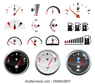set of fuel gauge scales or fuel indicator tank or electric car energy indicator concept. eps 10 vector,
