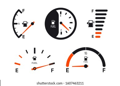 Set of Fuel gauge scales. Fuel meter. Fuel indicator.  Gas tank gauge. Oil level tank bar meter. Collection Fuel gauge speedometer on a white background