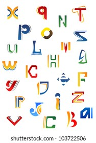 Set of full alphabet decorative letters in different design isolated on white background, such logo. Jpeg version also available in gallery