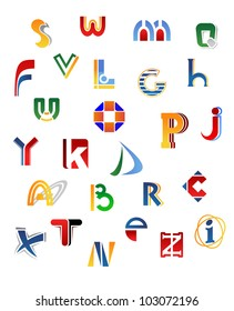 Set of full alphabet letters in different design, such logo. Jpeg version also available in gallery