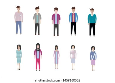 Set of full body diverse business people. Flat icons design white isolated. Vector graphic illustration. Man and woman, Different nationalities characters