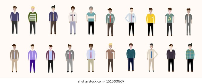 Set of full body diverse business people. Fashion man, male, guy, boy stay on white background. Vector illustration flat style. Work and Team concept