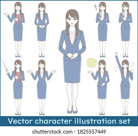 Set of full body illustrations of a woman in a business suit