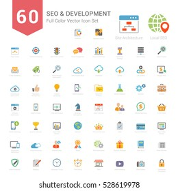 Set of Full Color SEO and Development icons Vector Illustration