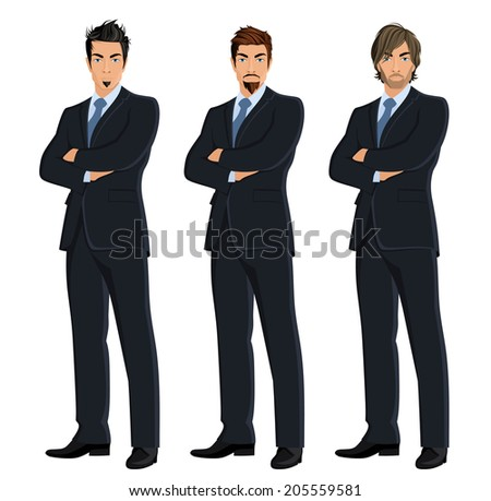 Set of full length body business man isolated on white background vector illustration