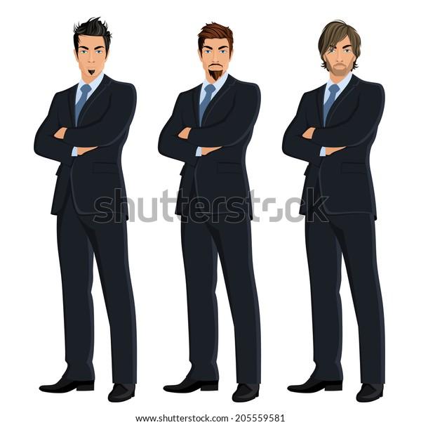 Set of full length body business man isolated on white background vector illustration