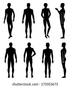 Set of full length front, back silhouette of man. Stock image created in Adobe Illustrator. EPS 8.