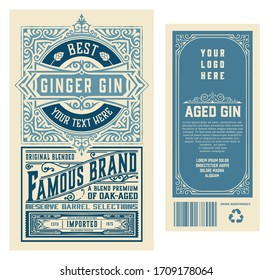 Set of full Vintage Gin Labels. Vector layered