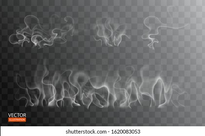 Set of fume on food, grill, tea and coffee. White cigarette smoke waves. Hot steam over cup for dark and transparent background. Magic vapor, mist, cloud, gas, fog vector illustration. Hazy fragrance