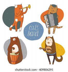 Set of fun cats playing musical instruments - drum, accordion, tube, guitar, isolated on white vector hand drawn illustration, kind, colored, with smiling cat faces and circle background on back.