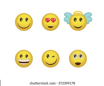 7252509efa5 A set of fun positive emoticon expressions. Smile