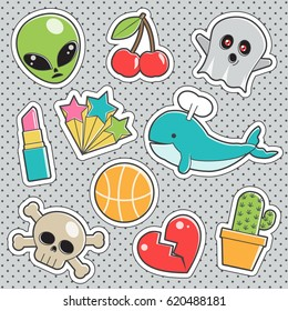 Set of fun trendy vintage sticker fashion badges with alien, skull and bones, cherry, ghost, hot lipstick, broken heart. Vector illustrations for iron on patches, transfer tottoos, sew on chevron.