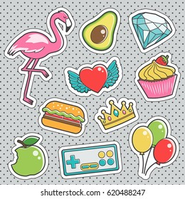 Set of fun trendy vintage sticker fashion badges with pink flamingo, shiny diamond, avocado, cupcake. Vector illustrations for iron on patches, transfer tottoos, sew on chevron.