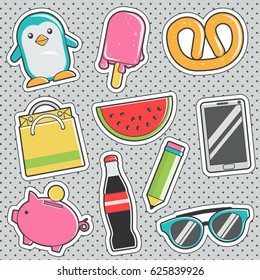 Set of fun trendy vintage sticker fashion badges with penguin, sweet ice-cream, trendy sunglasses, watermelon piece. Vector illustrations for iron on patches, transfer tottoos, sew on chevron.