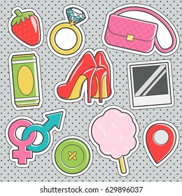 Set of fun trendy vintage sticker fashion badges with cotton candy, gender signs, high heel shoes, diamond ring, lady purse. Vector illustrations for iron on patches, transfer tottoos, sew on chevron.