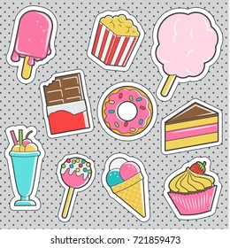 Set of fun trendy vintage sticker fashion badges with sweets, desserts and candies. Vector illustrations for iron on patches, transfer tottoos, sew on chevron.
