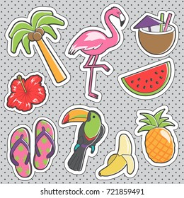 Set of fun trendy vintage sticker fashion badges with tropical exotic relax items. Vector illustrations for iron on patches, transfer tottoos, sew on chevron.