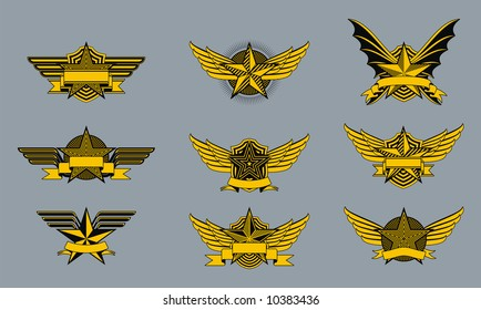 A set of funky little military style badges or emblems.