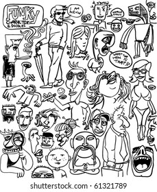 set of funky various character drawings