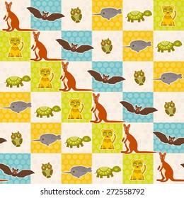 Set of funny animals bat turtle owl tiger kangaroo narwhal seamless pattern. Polka dot background with green blue orange square. Vector