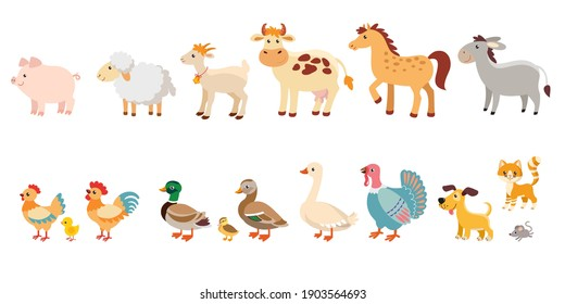 Set of funny animals in children's style. Farm animals and Poultry collection.