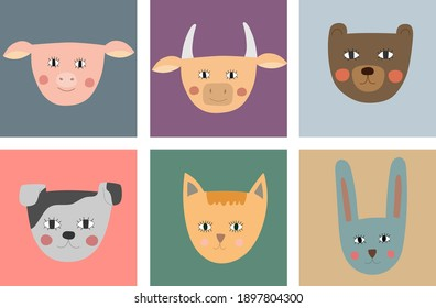 Set of funny animals. Pig, cow, bear, dog, cat and hare