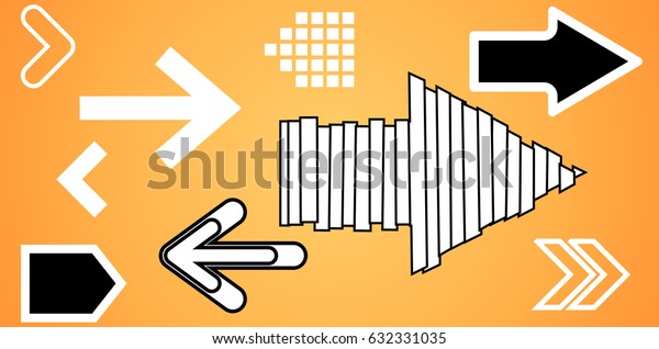 Set of funny arrows on a colorful bright background