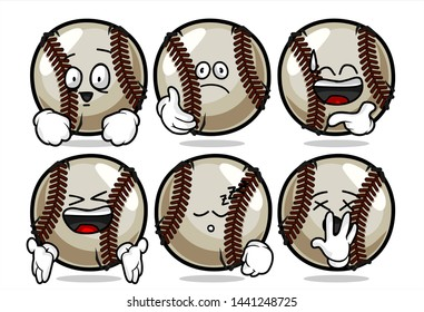 set of funny baseball Ball cartoon character Mascot with various face expression. Vector Illustration Isolated On White Background