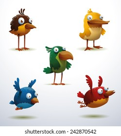 set of Funny Birds, vector