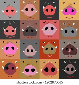 set of funny boar faces