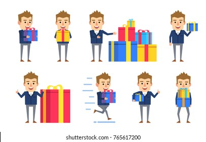 Set of funny businessman characters posing with different gift boxes. Cheerful man holding present, celebrating birhtday, running and showing other actions. Flat style vector illustration