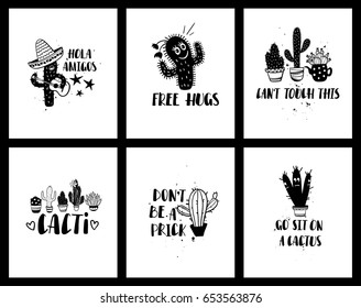 Set of funny cards or posters with cacti and handwritten text. Wild, houseplant and character cactuses and succulents backgrounds.