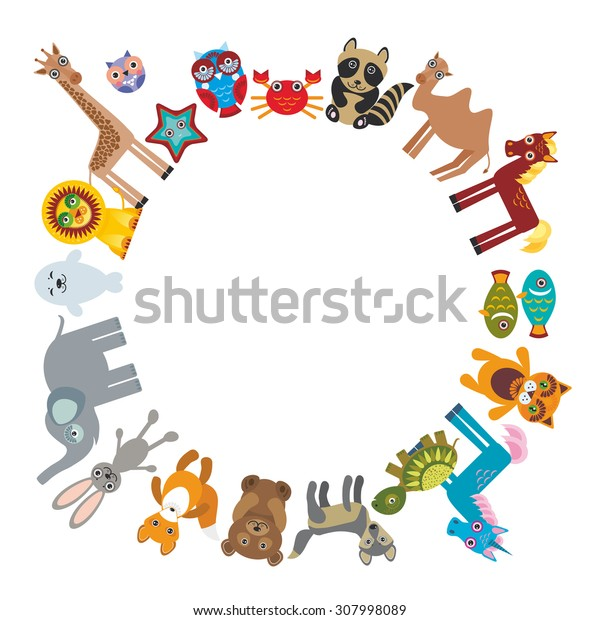 Set of funny cartoon animals character bear elephant fox giraffe horse lion camel rabbit wolf turtle unicorn owl starfish cat seal on white background walking around globe. frame for your text. Vector