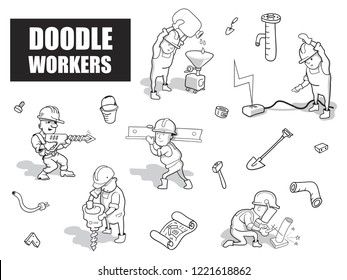 Set of Funny Cartoon Builders. Black and White Vector Illustration. Isolated Hand Drawn Workers for Your Sticker Design. Funky Doodle Style