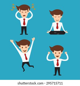 set of funny cartoon business man in various poses