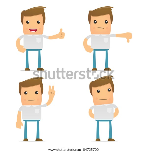 set of funny cartoon casual man in various poses for use in presentations, etc.
