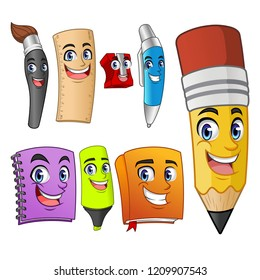 Set of funny cartoon characters school items supplies: pencil, pen, sharpener, ruler, paint brush, book, marker, binder, vector illustration.