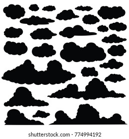Set of funny cartoon clouds silhouette, Clouds isolated on white Background. , Clouds patterns and clouds icons, filling sky scenes or user interface games backgrounds. Vector