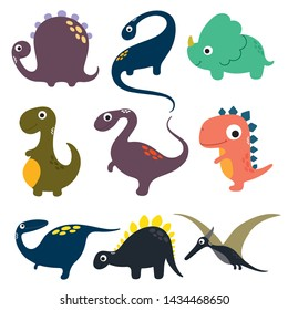 Set of funny cartoon dinosaurs collection. Vector illustration.
