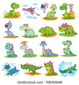 Set of funny cartoon dinosaurs. Earth, water and air ancient reptiles. White background.