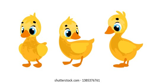 Set funny cartoon ducklings. Vector illustration in children's style.