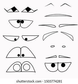 Set of funny cartoon emoticons. Funny eyes on a white background. Smile constructor.