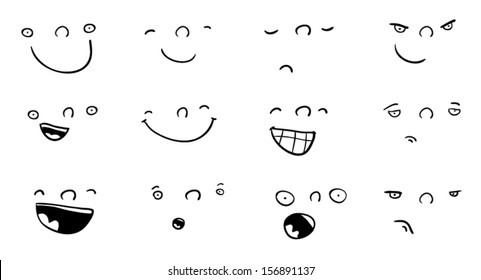 Set of funny cartoon faces with different expressions
