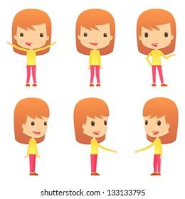 set of funny cartoon girl
